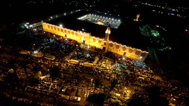 muslims perform prayer at mosque of amr ibn alas in cairo on july 01 2016 as they observe the laylat alqadr the night in which the first verses of... - muhammad prophet stock videos & royalty-free footage