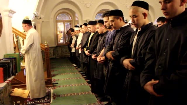 Muslims perform Tarawih Prayer on the eve of the holy fasting month of Ramadan at Marcani Mosque in Kazan the capital of the Russian Republic of...