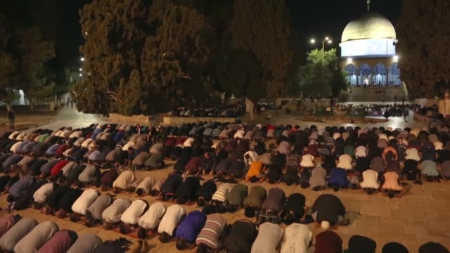 Muslims perform Tarawih Prayer on the eve of the holy fasting month of Ramadan at AlAqsa Mosque in the Old City of Jerusalem on May 16 2018