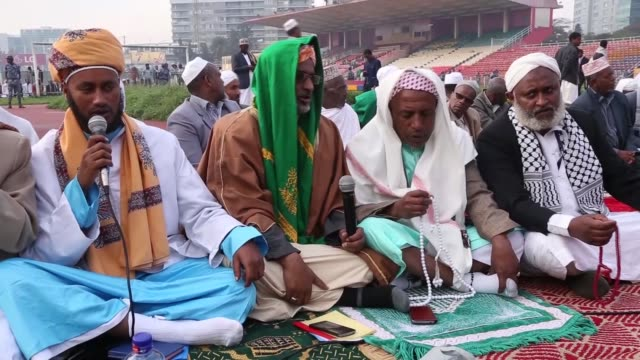 muslims perform the eid al-adha prayer at addis ababa stadium in ethiopia on september 01, 2017. eid al-adha, known as the feast of the sacrifice,... - ethiopia stock videos & royalty-free footage