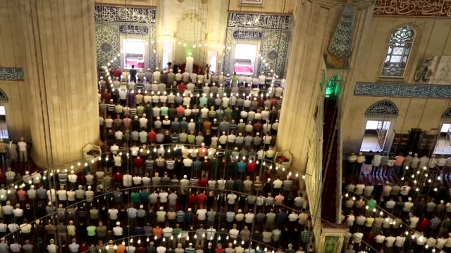 muslims perform the last friday prayer at selimiye mosque during the holy fasting month of ramadan in edirne turkey on june 23 2017 muslims around... - eid mubarak stock videos & royalty-free footage