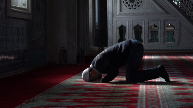 muslims prayer in mosque - pregare video stock e b–roll