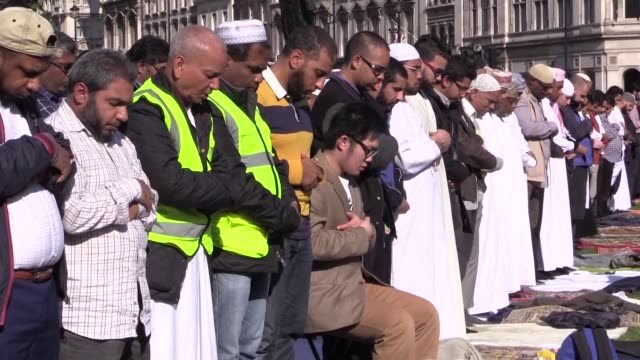 muslims taking part at the first ever congregational friday prayer in parliament square in london, england on october 9, 2015. the prayer was... - friday stock videos & royalty-free footage