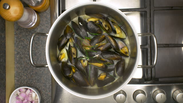mussels cooking in a saucepan. moules mariniere. - mollusc stock videos & royalty-free footage