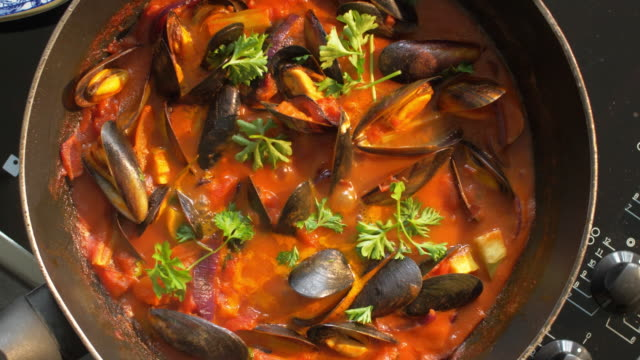 mussels on the hob - seafood stock videos & royalty-free footage