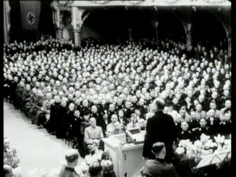mussert gives a speech on the occasion of the ten year anniversary of hitler's assumption of power - adolf hitler stock-videos und b-roll-filmmaterial