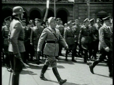 mussolini meets hitler in munich - benito mussolini stock videos & royalty-free footage