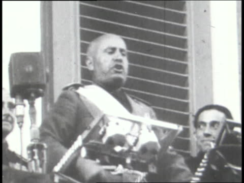 mussolini speaks to crowds in italy; ethiopian troops march. - benito mussolini stock videos & royalty-free footage