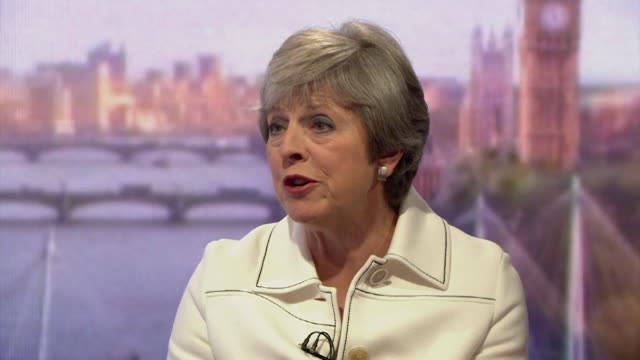 stockvideo's en b-roll-footage met must obtain permission from the andrew marr show before licensing theresa may speaking on the andrew marr show says that donald trump suggested that... - andrew marr