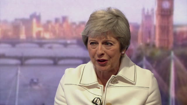 stockvideo's en b-roll-footage met must obtain permission from the andrew marr show before licensing theresa may speaking on the andrew marr show after outlining different opinions... - andrew marr