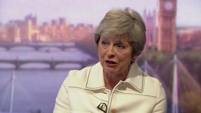 stockvideo's en b-roll-footage met must obtain permission from the andrew marr show before licensing theresa may talks about the reasons for the 'common rulebook' which she says is... - andrew marr