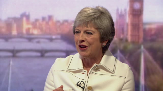 stockvideo's en b-roll-footage met must obtain permission from the andrew marr show before licensing sequence showing theresa may saying that regulatory standards in the uk will be... - andrew marr