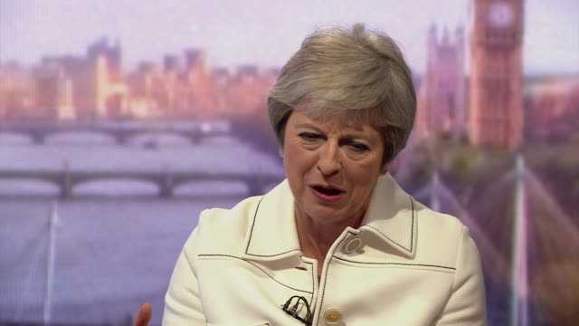 vidéos et rushes de must obtain permission from the andrew marr show before licensing. theresa may responds to a question about donald trump's controversial views on... - genre de la personne