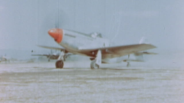 Mustang fighters taxiing and taking off / Germany