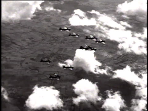 mustangs flying in formation / european theater of operations - medium group of objects stock videos & royalty-free footage