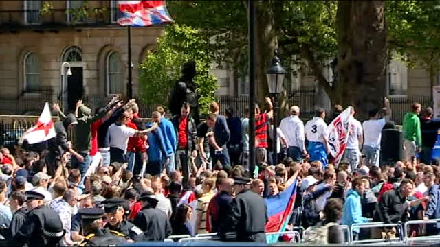 muswell hill islamic centre destroyed in fire antifascist vigil held in response r27051308 edl protesters in whitehall following murder of drummer... - lee rigby stock videos & royalty-free footage
