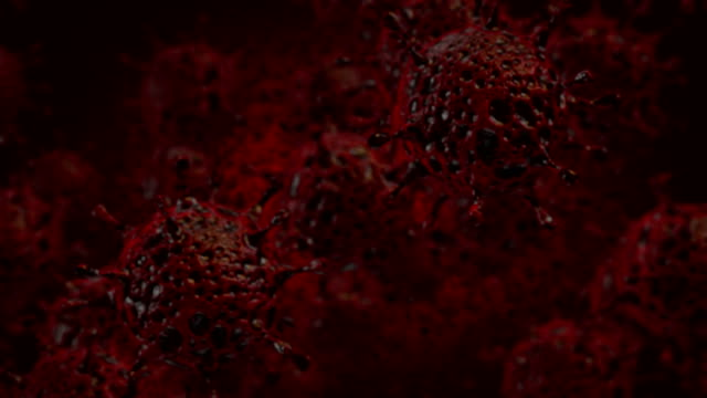 cgi della cellula coronavirus mutante - membrana video stock e b–roll