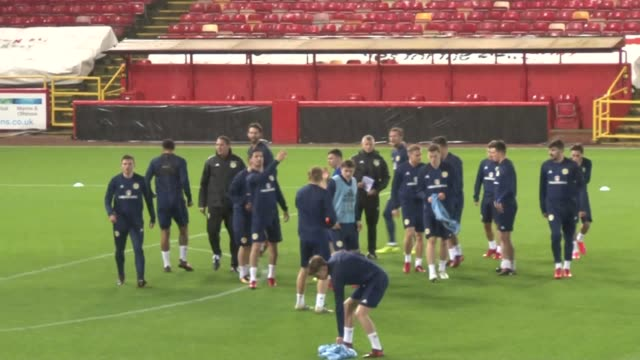 **Mute Audio Scotland players train ahead of friendly match against Holland in Pittodrie on Thursday