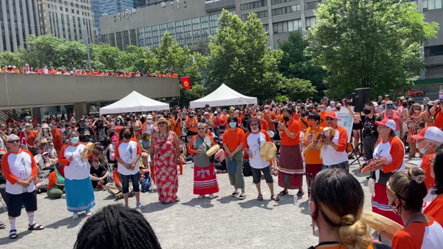 muted canada day celebration with a focus on first nations and reconciliation on july 1, 2021 in toronto, canada. after various sites with unmarked... - traditionally canadian stock videos & royalty-free footage