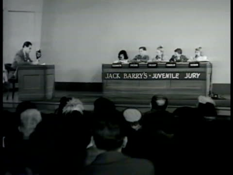 tu wor mutual sign on building int studio w/ audience five children sitting in 'jury box' w/ jack barry reading questions children answering audience... - jury box stock videos & royalty-free footage
