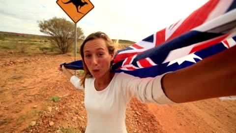 my australian selfie - road warning sign stock videos & royalty-free footage
