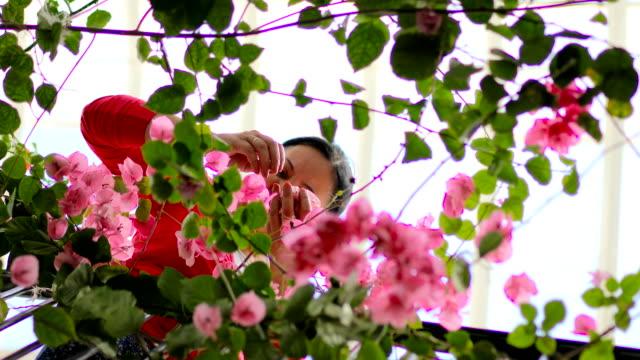 vídeos y material grabado en eventos de stock de mi jardín en el ático. mujer de edad media - tierra cultivada