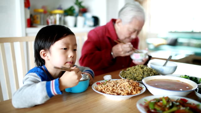 my grandmother at lunch - chinese culture stock videos & royalty-free footage