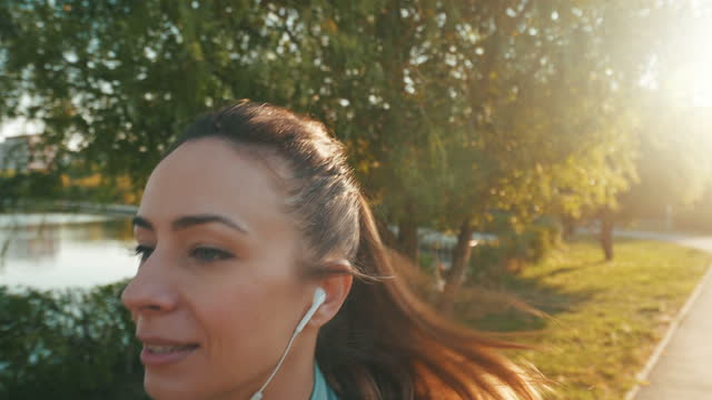 my perfect day for jogging. - brown hair stock videos & royalty-free footage