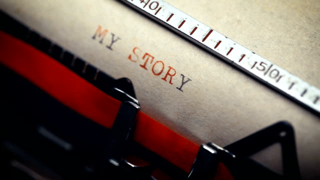my story - typing with a retro style typewriter - biography stock videos & royalty-free footage