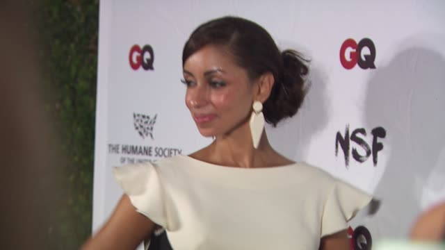 mya at the nsf, the humane society and gq magazine join forces to stop puppy mills at beverly hills ca. - 歌手 マイア点の映像素材/bロール