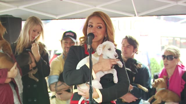 mya talks about adopting pets at the mya hosts north shore animal league's tour for life 2010 grand finale at new york ny. - 歌手 マイア点の映像素材/bロール