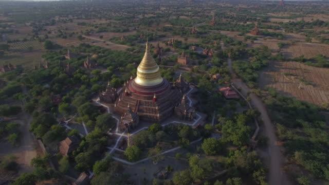 myanmar bagan drone - bagan stock videos & royalty-free footage