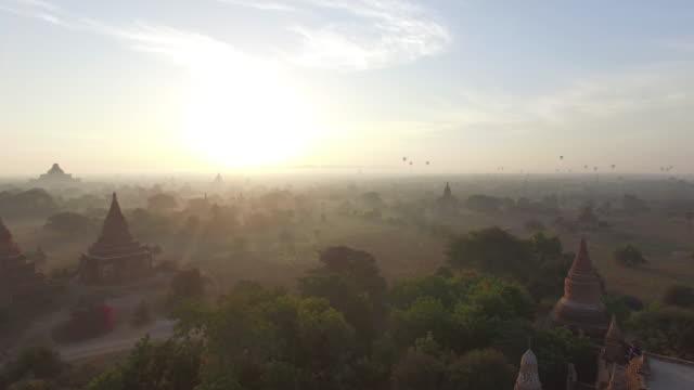 myanmar bagan drone - temple building stock videos & royalty-free footage
