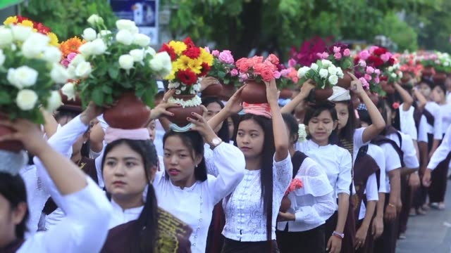 myanmar buddhists commemorate the birth of buddha at a pagoda in mandalay - pagoda stock videos & royalty-free footage