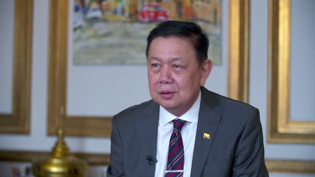 myanmar ambassador to the uk locked out embassy: kyaw zwar minn interview; england: london: int kyaw zwar minn interview sot q: on whether china is... - war and conflict stock-videos und b-roll-filmmaterial