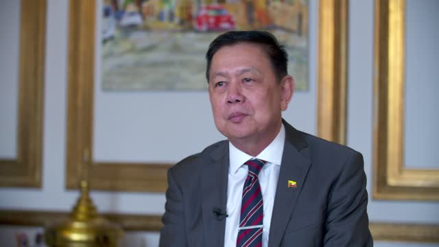 myanmar ambassador to the uk locked out embassy: kyaw zwar minn interview; england: london: int kyaw zwar minn interview sot q: on whether myanmar... - war and conflict stock-videos und b-roll-filmmaterial