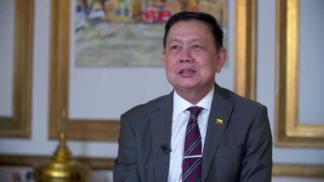myanmar ambassador to the uk locked out embassy: kyaw zwar minn interview; england: london: int kyaw zwar minn interview sot q: on un declaring... - crime and murder stock-videos und b-roll-filmmaterial