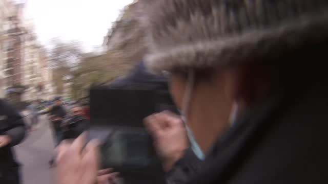 ambassador locked out of london embassy: ambassador followed by press scrum; england: london: mayfair: myanmar embassy: ext kyaw zwar minn out of car... - war and conflict stock-videos und b-roll-filmmaterial