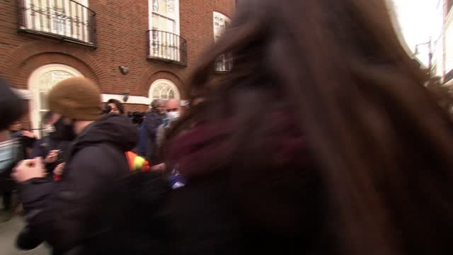ambassador locked out of london embassy: protest outside embassy / ambassador speaking to press; england: london: mayfair: myanmar embassy: ext kyaw... - war and conflict stock-videos und b-roll-filmmaterial
