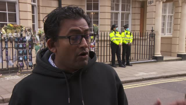 myanmar ambassador locked out of london embassy: statement to press; england: london: mayfair: myanmar embassy: ext min hein interview sot. - on what... - war and conflict stock-videos und b-roll-filmmaterial