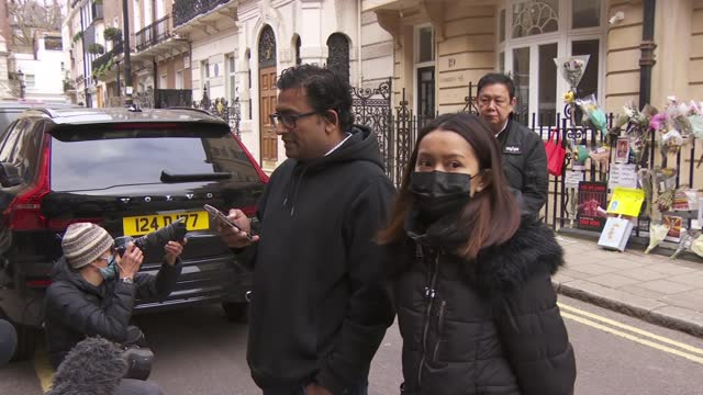 myanmar ambassador locked out of london embassy: statement to press; england: london: mayfair: myanmar embassy: ext min hein and unidentified woman... - war and conflict stock-videos und b-roll-filmmaterial