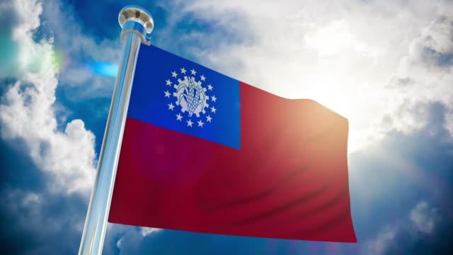 stockvideo's en b-roll-footage met 4k-myanmar vlag   loop bare stock video - paalzitten