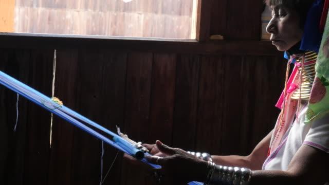 myanmar - long neck tribe - weaving stock videos & royalty-free footage