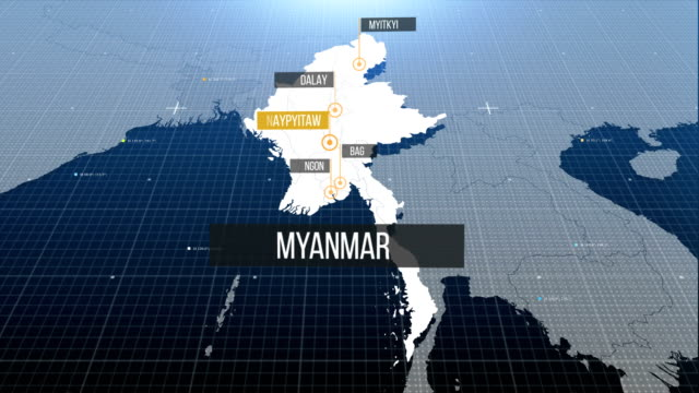 myanmar map with label then with out label - myanmar stock videos and b-roll footage