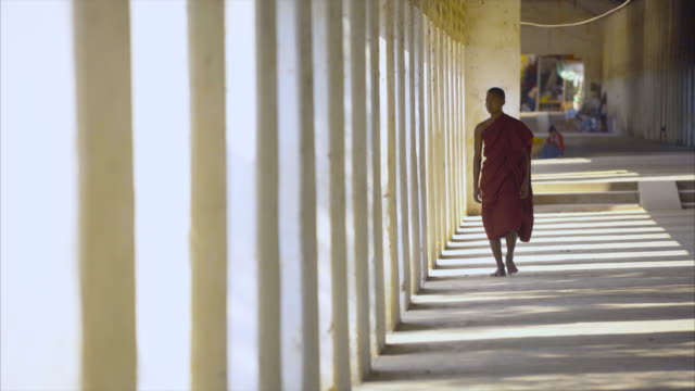 myanmar monk walking to the camera in shade light hall - buddhismus stock-videos und b-roll-filmmaterial