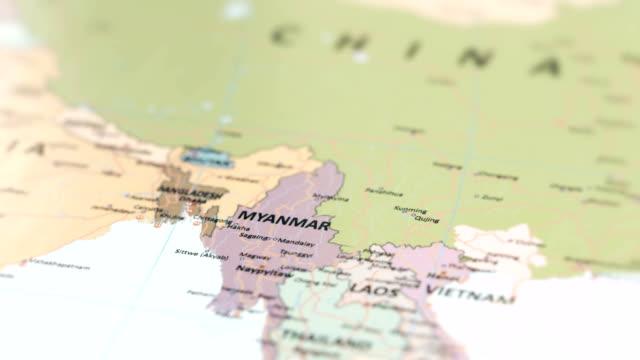 stockvideo's en b-roll-footage met asia myanmar op wereldkaart - andamanse zee