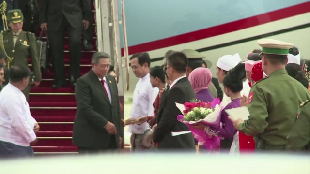 myanmar parades its once isolated capital to international leaders this weekend hosting a landmark summit of southeast asias regional bloc as reforms... - international landmark video stock e b–roll
