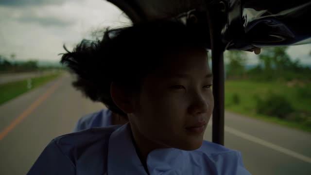 M/S Myanmar teenage girl in the school bus