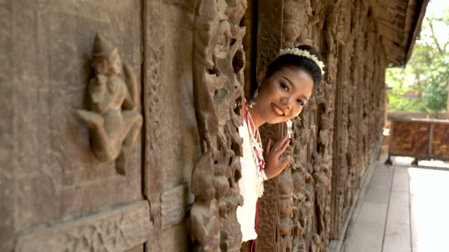 myanmar woman in traditional myanmar suit - mandalay stock videos and b-roll footage