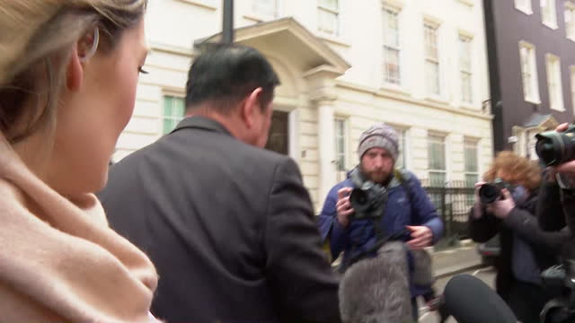 myanmar's ambassador to the uk, kyaw zwar minn, surrounded by press outside embassy after he was sacked after the military coup in myanmar - monument stock videos & royalty-free footage